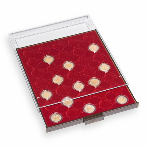 Smoke colored/red Leuchtturm plastic box for 35 capsulas of 2 Euro (50 cent) coins