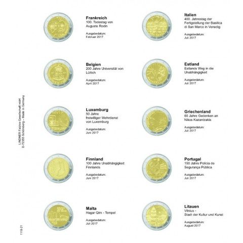 Lindner pages into album of 2 Euro coins 2017  (February - September)