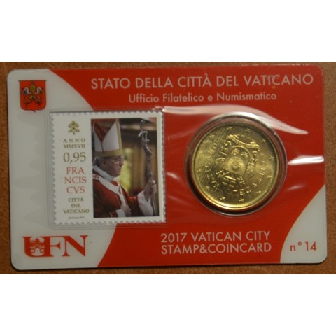 50 cent Vatican 2017 official coin card with stamp No. 14 (BU)