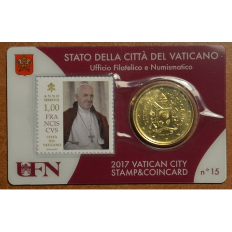50 cent Vatican 2017 official coin card with stamp No. 15 (BU)