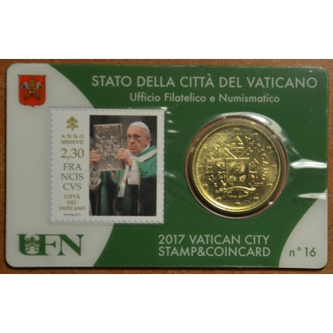 50 cent Vatican 2017 official coin card with stamp No. 16 (BU)
