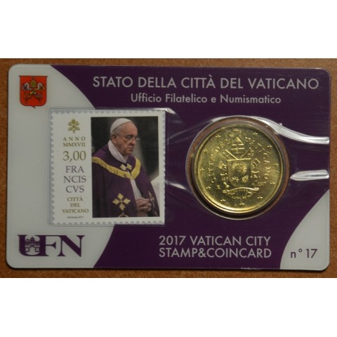 50 cent Vatican 2017 official coin card with stamp No. 17 (BU)