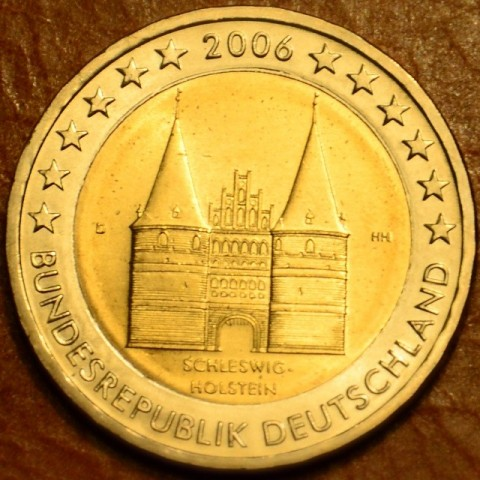"""2 Euro Germany """"D"""" 2006 - Holstentor in Lübeck / Schleswig-Holstein (UNC)"""