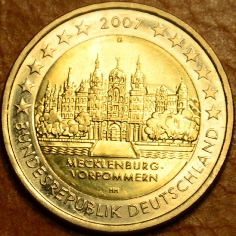 """2 Euro Nemecko """"G"""" 2007 - Mecklenburg-Vorpommern: Schwerin Castle (UNC)"""