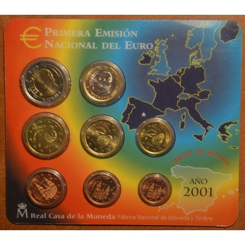 Official set of 8 Spanish coins 2001  (BU)