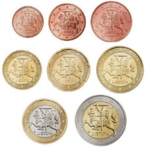 Set of 8 eurocoins Lithuania (2015)