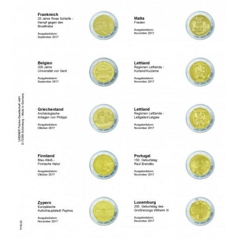 Lindner pages into album of 2 Euro coins 2017  (September - December)