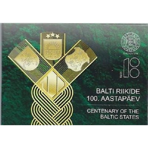 2 Euro Estonia 2018 - Baltic Community Issue - 100 Years of Independence (BU card)