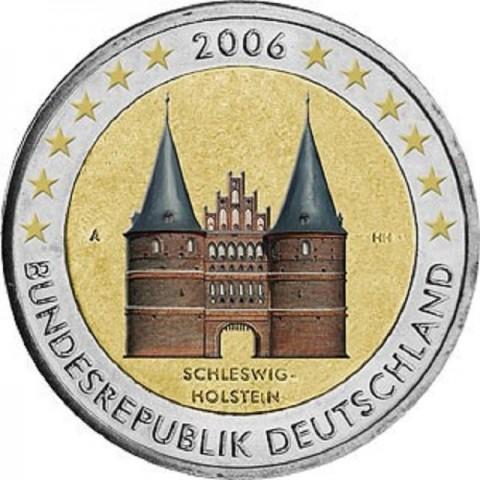 "2 Euro Germany ""G"" 2006 - Holstentor in Lübeck / Schleswig-Holstein (colored UNC)"