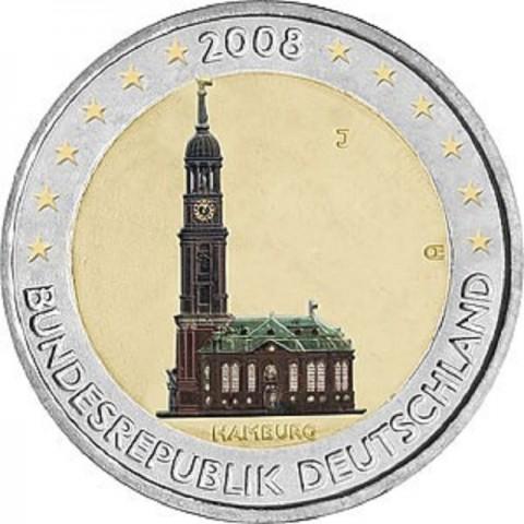 "2 Euro Germany ""D"" 2008 - Hamburg: St. Michaelis' Church (UNC)"
