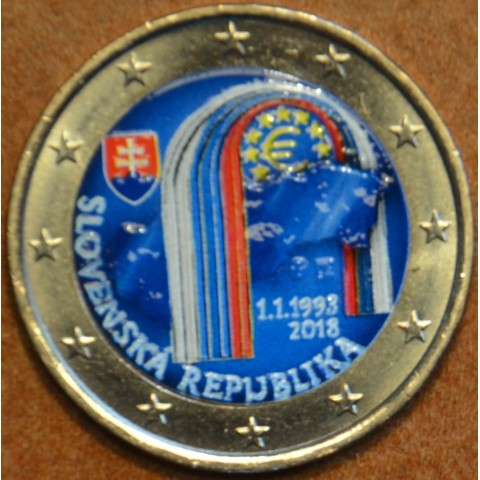 2 Euro Slovakia 2018 - 25 year of Slovak Republic V. (colored UNC)