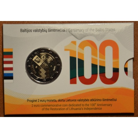 2 Euro Lithuania 2018 - Baltic Community Issue - 100 Years of Independence (BU card)