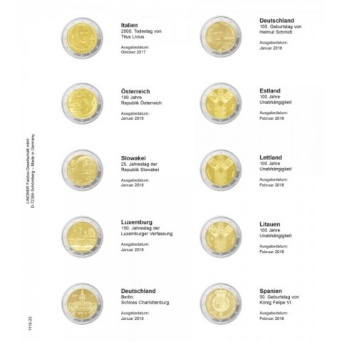 Lindner pages into album of 2 Euro coins 2017  (October 2017 - February 2018)
