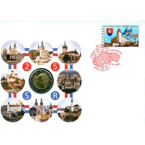 2 Euro Slovakia 2018 - 25 year of Slovak Republic + stamp (UNC)