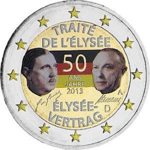 "2 Euro Germany ""A"" 2013 - 50 Years of the Élysée Treaty (colored UNC)"