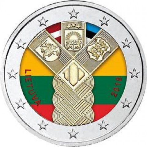 2 Euro Lithuania 2018 - Baltic Community Issue - 100 Years of Independence (colored UNC)
