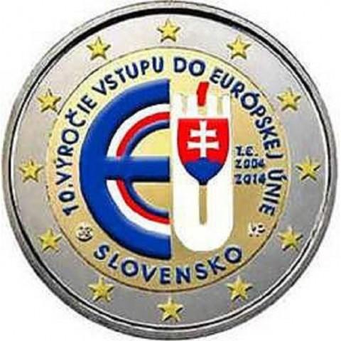2 Euro Slovakia 2014 - 10 years in EU (colored UNC)