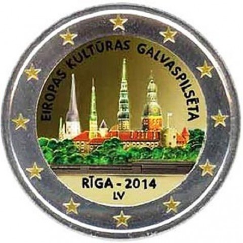 2 Euro Latvia 2014 - Riga European Capital of Culture (colored UNC)