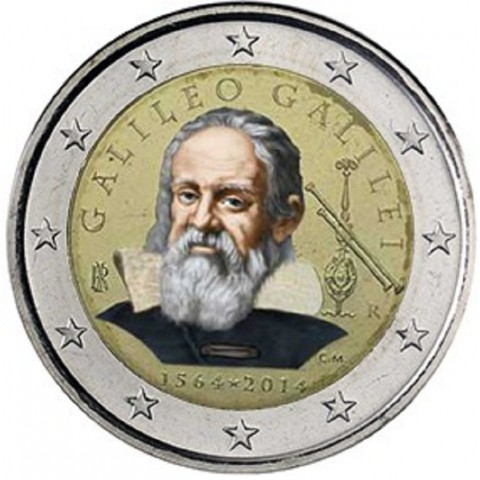 2 Euro Italy 2014 - 450th anniversary of Galileo Galilei III. (colored UNC)