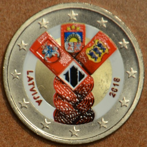 2 Euro Latvia 2018 - Baltic Community Issue - 100 Years of Independence III. (colored UNC)