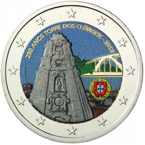 2 Euro Portugal 2013 - 250 Years of the Torre dos Clérigos III. (colored UNC)