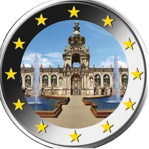 """2 Euro Germany """"A"""" 2016 - Saxony: Dresden III. (colored UNC)"""