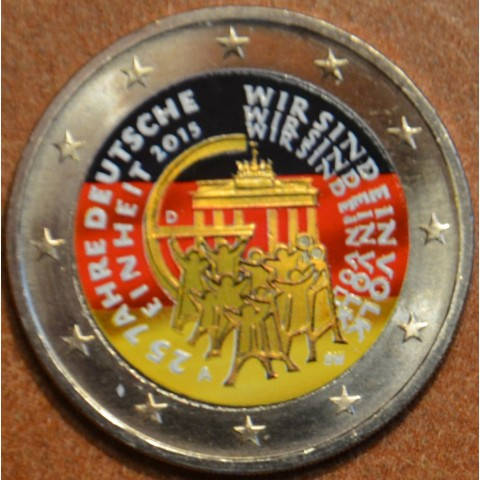 """2 Euro Germany """"A"""" 2015 - 25 years of reunification of Germany III. (colored UNC)"""