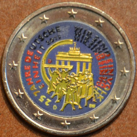 """2 Euro Germany """"D"""" 2015 - 25 years of reunification of Germany III. (colored UNC)"""