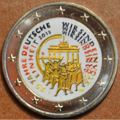 """2 Euro Germany """"F"""" 2015 - 25 years of reunification of Germany III. (colored UNC)"""