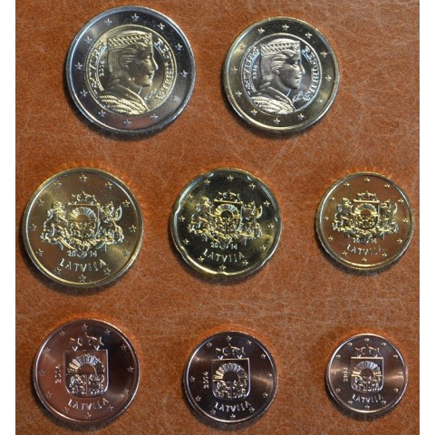 Set of 8 eurocoins Latvia 2014 (UNC)