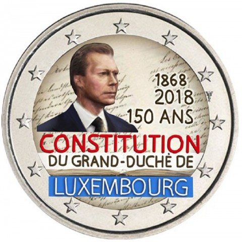 2 Euro Luxembourg 2018 - The 150th anniversary of the Luxembourg Constitution (colored UNC)