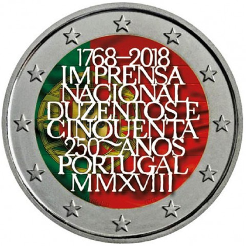 2 Euro Portugal 2018 - 250 years of mint INCM (colored UNC)