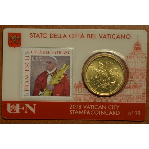50 cent Vatican 2018 official coin card with stamp No. 18 (BU)