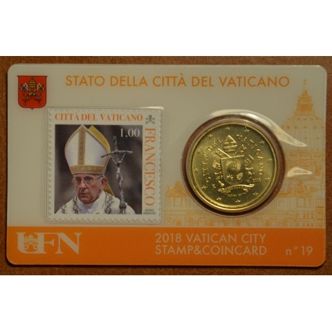 50 cent Vatican 2018 official coin card with stamp No. 19 (BU)