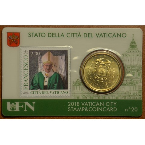 50 cent Vatican 2018 official coin card with stamp No. 20 (BU)