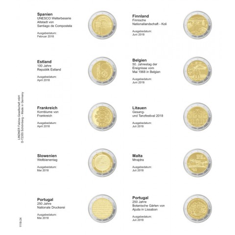 Lindner pages into album of 2 Euro coins (February 2018 - July 2018)