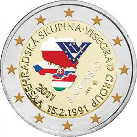 2 Euro Slovakia 2011 - 20th anniversary of the formation of the Visegrad Group  (colored UNC)