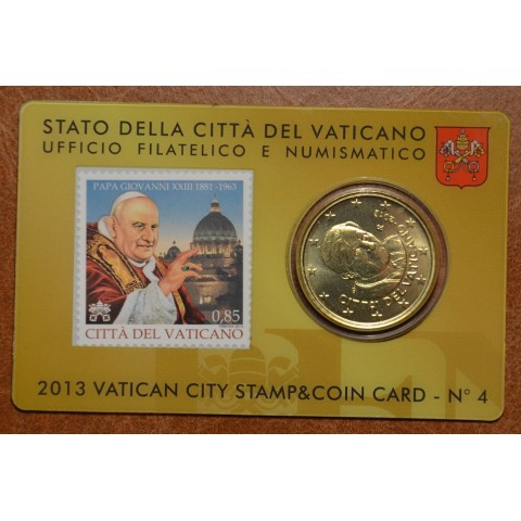 50 cent Vatican 2013 official stamp and coin card No. 4 (BU)
