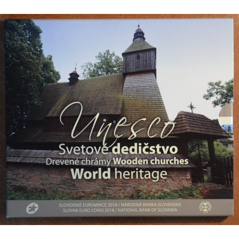 Set of 8 Slovak eurocoins 2018 - Wooden churches (BU)