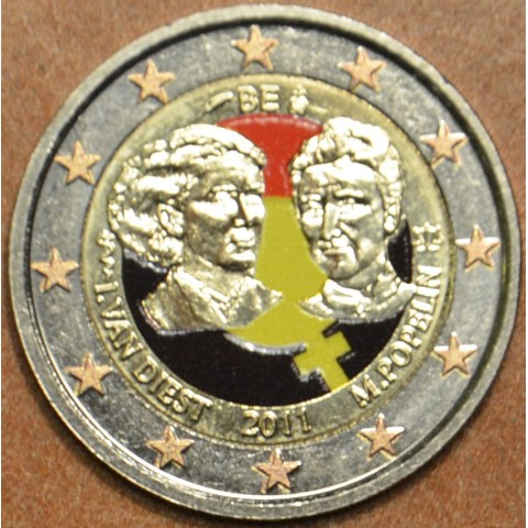 2 Euro Belgium 2011 - 100th anniversary of International Women's Day II. (UNC colored)