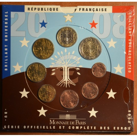 Set of 8 eurocoins France 2008 (BU)