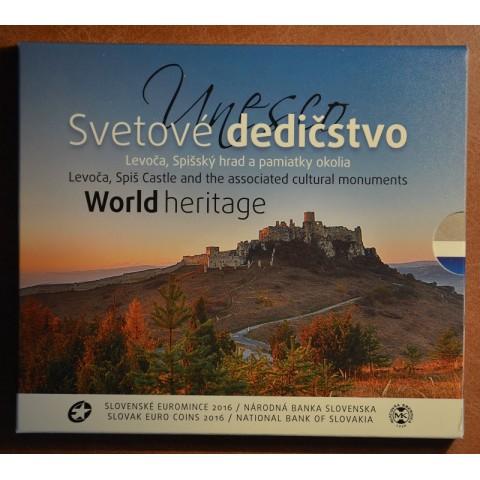 Cover for set of 8 Slovak coins 2016 Levoča, castle of Spiš